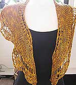 Artyarns Golden Lace Shawl kit featuring artyarns silk pearl and Cashmere pearl with sequins