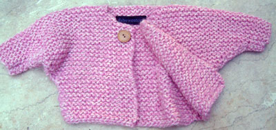 Free Knitting Pattern for Baby One-Button Easy Knit Cardigan Pattern Pattern