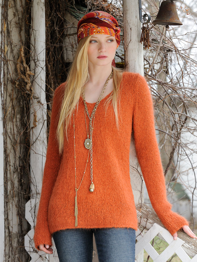 Orange Cardigan Sweater