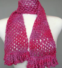 Artyarns Knitting Pattern for Ruffled Lace Scarf