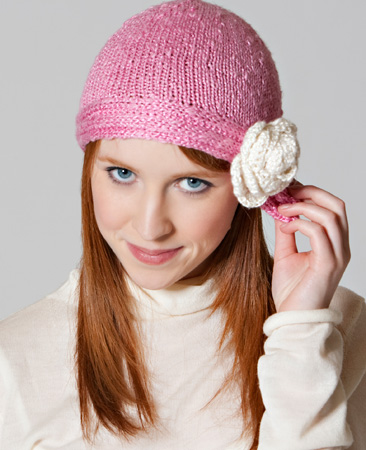 Skacel Urban Silk Knitting Patterns Comfort Cap With Flower