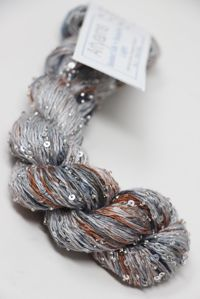 artyarns beaded silk with sequins light  in color Montagne 1040 with silver beads