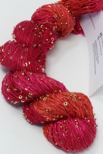 Artyarns BEADED SILK AND SEQUINS LIGHT | H25 Hot Coral Pink (Silver)