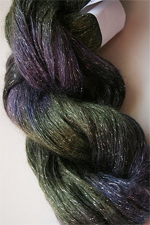 artyarns silk rhapsody glitter in h4 Scarab Silver with Silver Glitter in H7 Silver