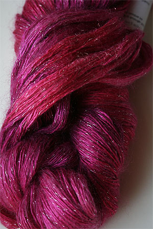 artyarns silk rhapsody glitter in h4 Scarab Silver with Silver Glitter in H1 Cherry POP with Silver Glitter