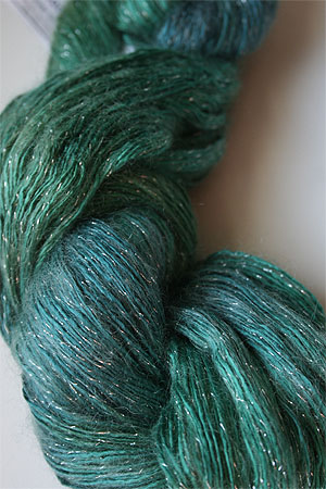 artyarns silk rhapsody glitter in h4 Scarab Silver with Silver Glitter in 2313 Golden