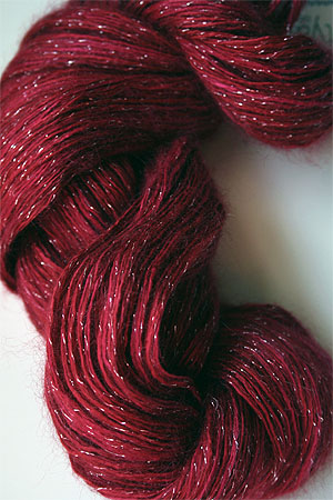 artyarns silk rhapsody glitter in H7 Heart Red with Silver or Gold Glitter in H7 Heart Red