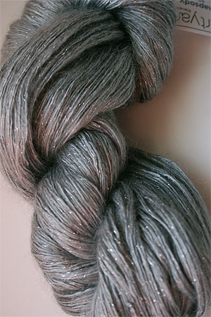 artyarns silk rhapsody glitter in h4 Scarab Silver with Silver Glitter in H26s
