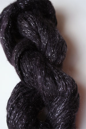 artyarns silk rhapsody glitter in h4 Scarab Silver with Silver Glitter in 289 Deep Plum with Silver