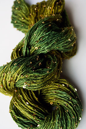 Beaded Silk and Sequins Light in H22 Green Golds with Gold Artyarns