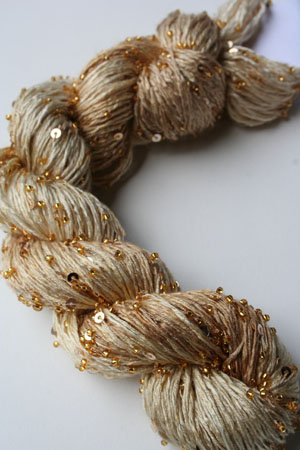 Beaded Silk and Sequins Light in H12 Golden Straw with Gold Artyarns