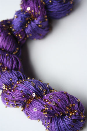 Beaded Silk and Sequins Light in H5 Purple Majesty with Gold Artyarns