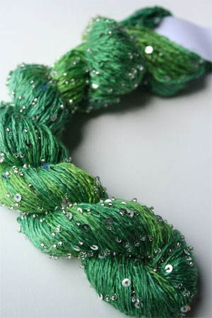 Beaded Silk and Sequins Light in H2 Peridot with Silver Artyarns