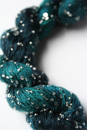 Beaded Silk and Sequins Light in H23 Emeralds with Silver Artyarns