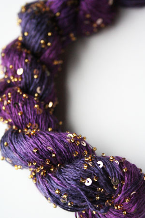 Beaded Silk and Sequins Light in H24 Wild Berries with Gold Artyarns