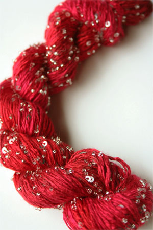 Beaded Silk and Sequins Light in H7 Hot Red with Silver Artyarns