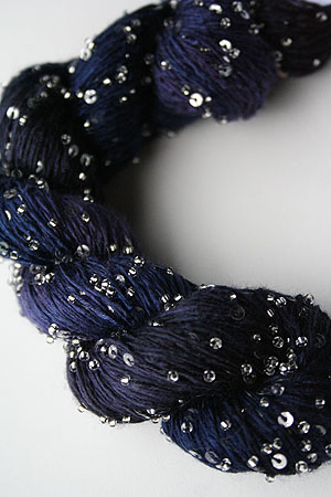 Beaded Silk and Sequins Light in H21 Indigo Mix with Silver Artyarns