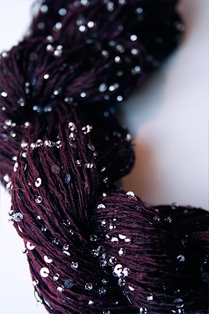 Beaded Silk and Sequins Light in 302 Deep Plum with Silver Artyarns