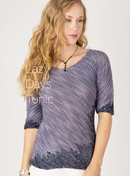 Lazy Days of Summer Tunic featuring Artyarns Beaded silk and Sequins Light and Merino Cloud!