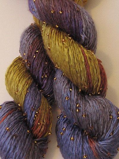 artyarns beaded silk yarn 101 sunset with gold beads