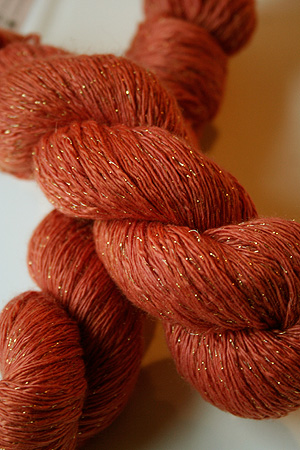 Artyarns Cashmere Glitter knitting yarn in 222 Squashy Pumpkin with Gold