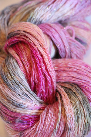 Artyarns Cashmere Glitter knitting yarn in 606 Peach Floral with Gold