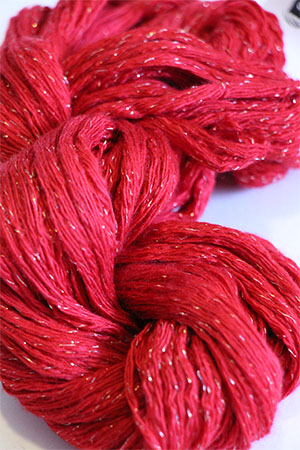 Artyarns Cashmere Glitter knitting yarn in 244 True Red with Silver