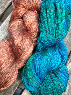 Artyarns Ensemble Glitter Light Yarn silk & Cashmere Yarn in H26 Silver and 919 Gold