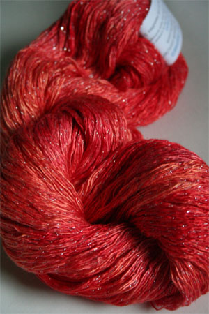 Artyarns Ensemble Glitter Light Yarn silk & Cashmere Yarn in H29 Hot Coral with Silver