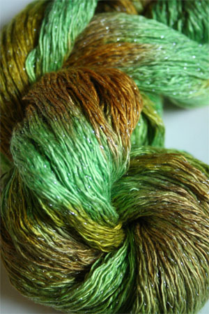Artyarns Ensemble Glitter Light Yarn silk & Cashmere Yarn in H32 Go Green - Silver