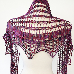 Artyarns Openwork Lace shawl kit: silk pearl,& beaded pearl with sequins.