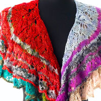 The Every Which Way Shawl kit by Artyarns combines beaded silk light and artyarns lace cashmere in four fabulous color combinations.
