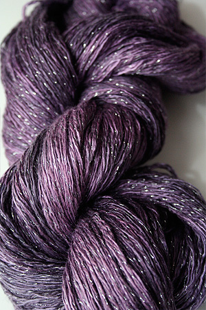 Artyarns Ensemble Glitter Light Yarn silk & Cashmere Yarn in 916 Plum with Silver