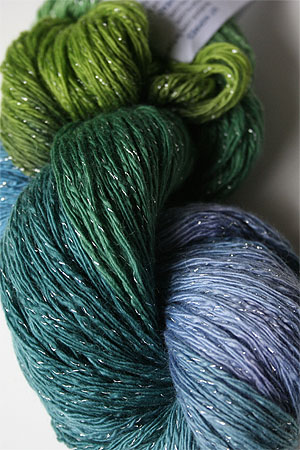 Artyarns Cashmere Glitter knitting yarn in 106 Seagreens with Silver