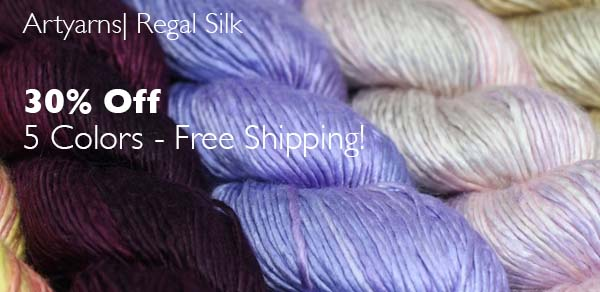30% Off Regal SIlk in select colors by Artyarns!