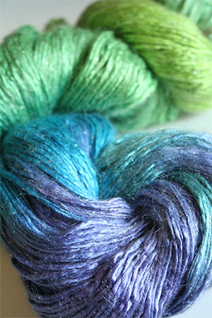 Artyarns Silk Rhapsody glitter in 106 (S) Sea Greens & Blues with Silver