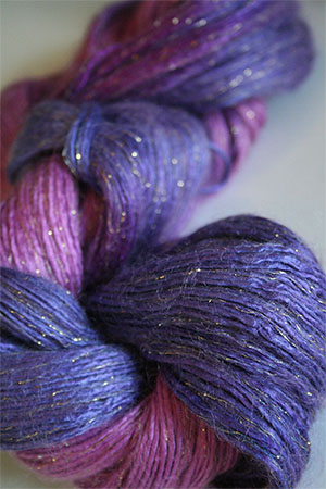 Artyarns Rhapsody Glitter Worsted SIlk Mohair in 108 Purple Mist with Gold