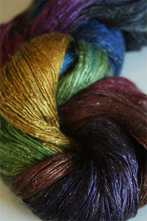 Artyarns Rhapsody Glitter Worsted SIlk Mohair in 182 Jewel with Gold