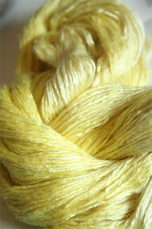 Artyarns Rhapsody Glitter Worsted SIlk Mohair in 2232 Summer Yellow  with Gold