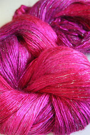 Artyarns Rhapsody Glitter Worsted SIlk Mohair in H1 Cherry Pop with Silver