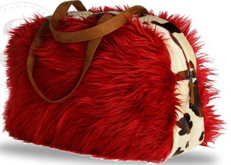 Atenti Red Shag Bag