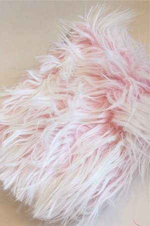 Atenti Knitting Pouches in Pink Shag Fake Fur