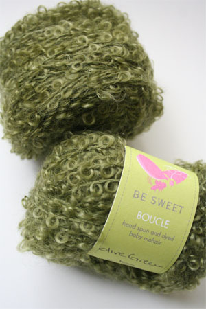 Be Sweet Boucle Mohair Yarn in Olive Green