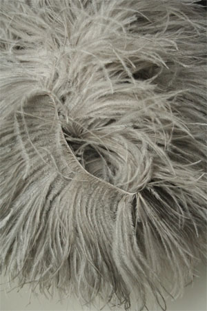 Be Sweet Light Grey Ostrich Feather Knitting Trim