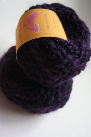 Be Sweet Slubby Mohair Yarn in Dark Blue Plum