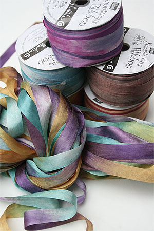 Handpainted silk knitting ribbon yarn