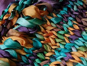 silk ribbon knitted stitch detail