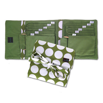 Della que cotton needle case in Lime with white Polka Dots