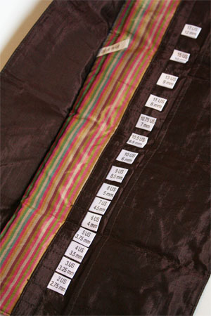 Della Q Interchangeable Needle Case in Chocolate Brown Stripe Silk