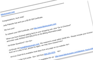Instant Online Email Gift Certificate